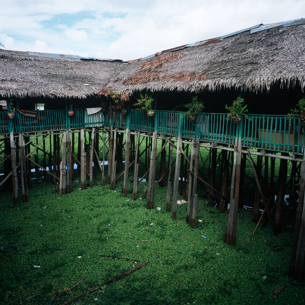 Houses on stilts on the riverport of Iquitos