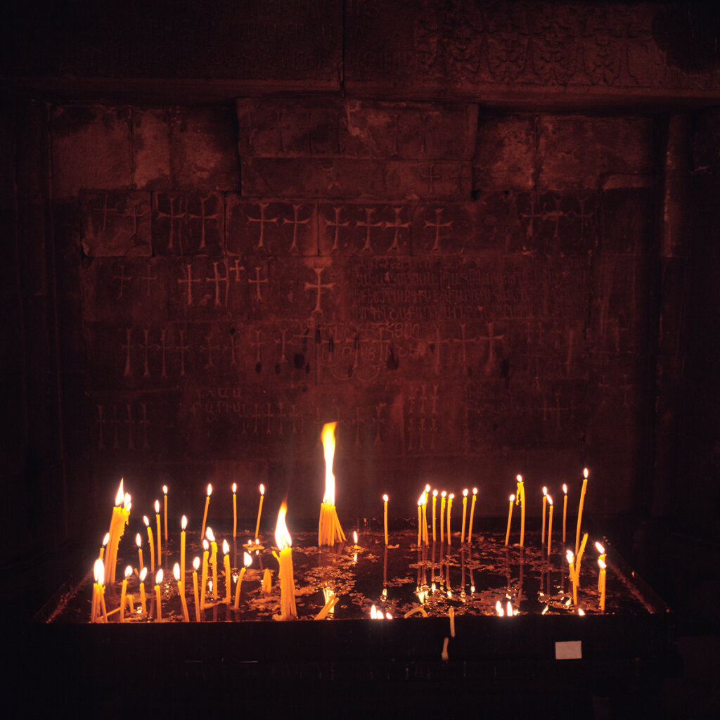 Candles in St. Karapet church, Noravank Monastery